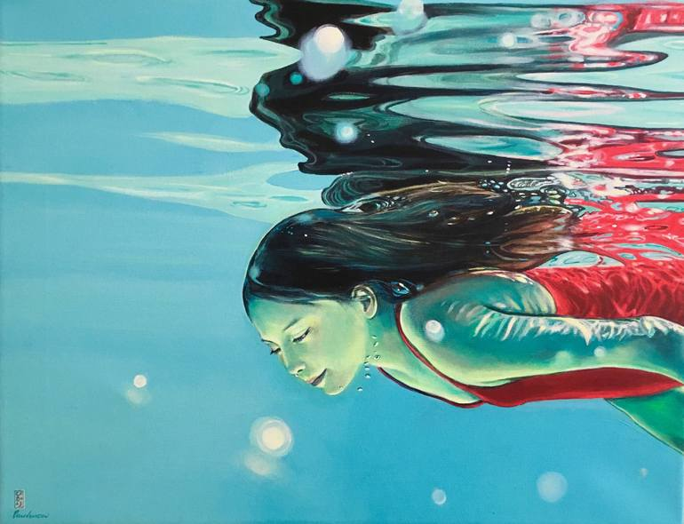 "Saatchi Art Artist Brigitte Yoshiko Pruchnow; Painting, ""Reflection"""