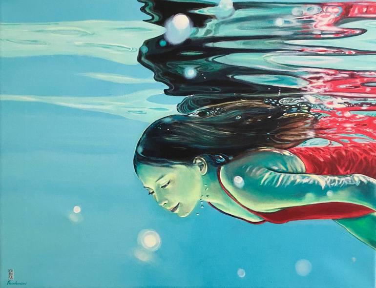 """Saatchi Art Artist Brigitte Yoshiko Pruchnow; Painting, """"Reflection"""""""